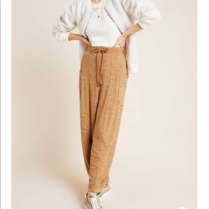 Anthropologie Gold Wide Leg Laura Lounge Pants